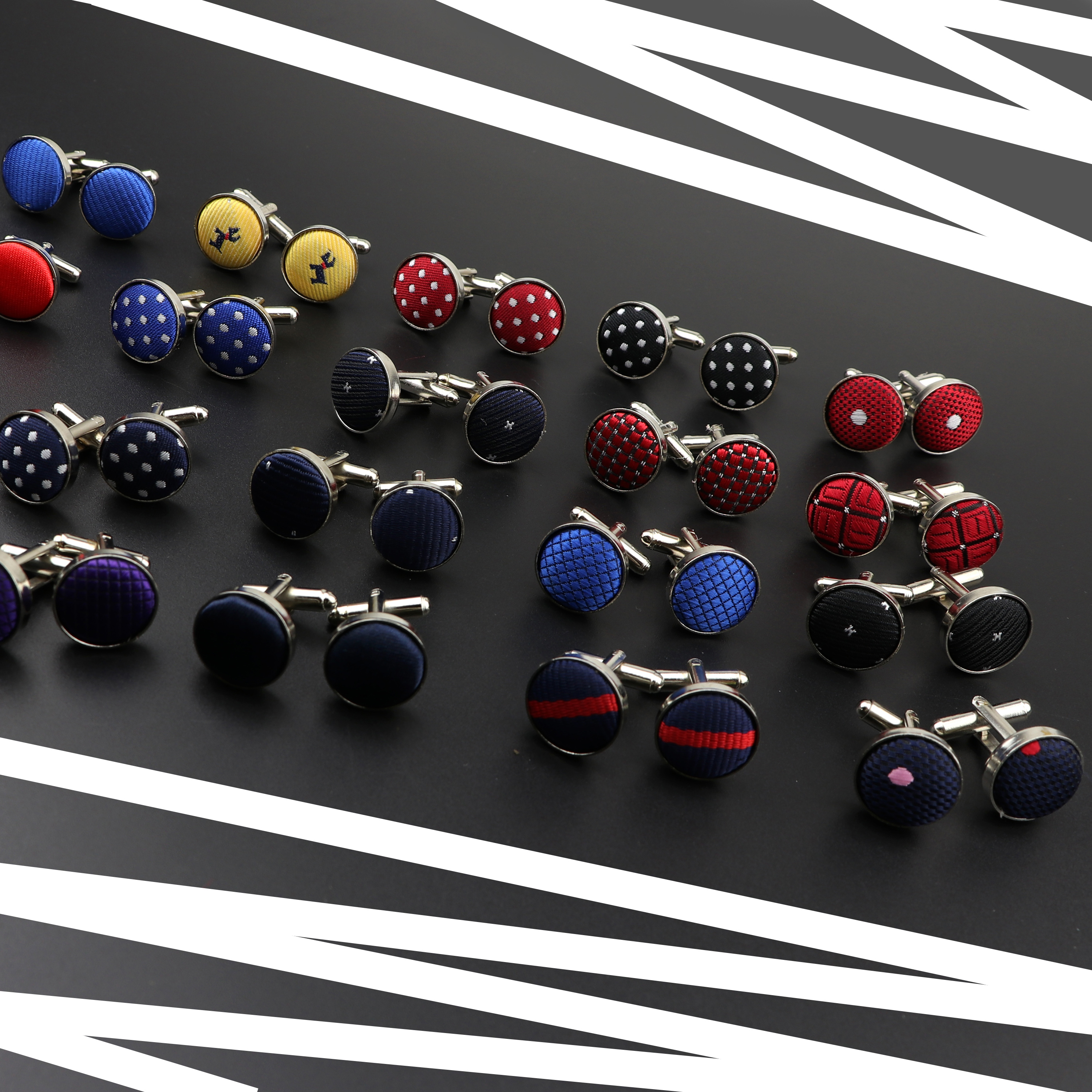 Mens Round Braided Jewelry Fashion Shirt Cufflinks For Wedding Party Dot Solid Polyester Stripe Silver CuffLink Men Gift NO30-39