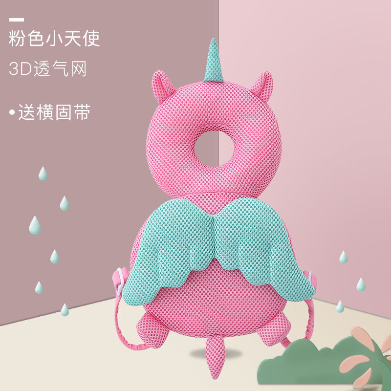 Toddler Baby Head Protection Cushion Backpack Unicorn Bee Pillow Plush Toy Adjustable Breathable Baby Head Protector for Walking