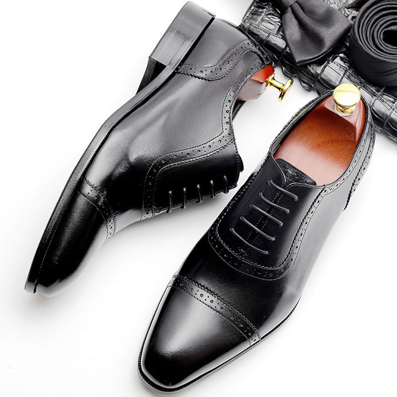 2019 Men Formal Business Genuine Leather Men Dress Office Shoes Men Comfortable Gentleman Shoes Business Wedding Shoes