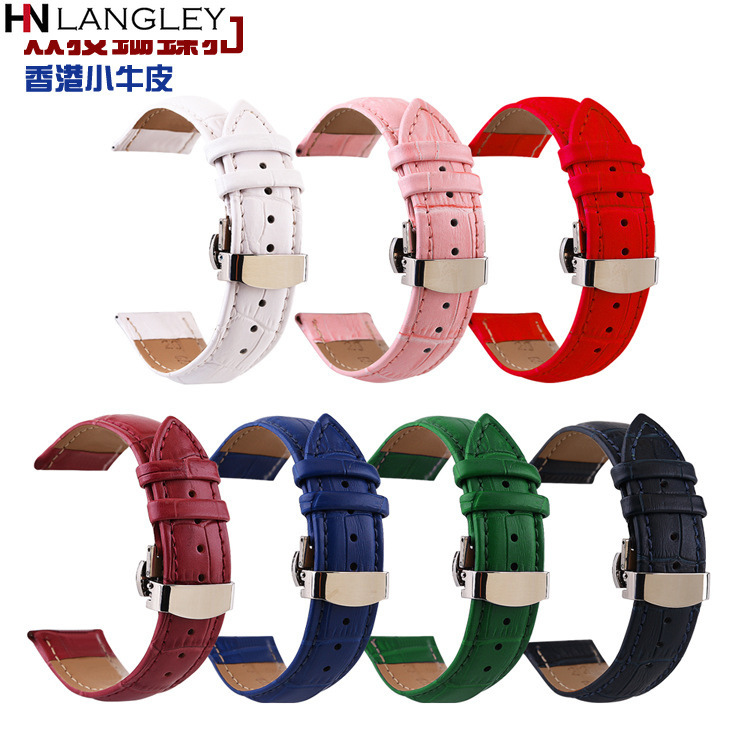 Mult-Color Geunine Leather <font><b>Strap</b></font> Double Press Automatic Butterfly Buckle Bamboo Knot <font><b>Watch</b></font> Band 10/<font><b>12</b></font>/13/14/15/16/17/18 <font><b>mm</b></font> <font><b>Strap</b></font> image