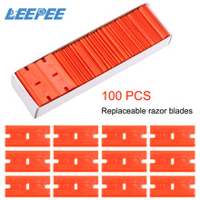 LEEPEE 100pcs Double Edged Plastic Razor Blade Window Glass Cleaner Scraper Label Clean Razor Glue Remover Glass Cleaning Tool