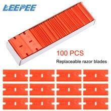 LEEPEE cuchilla de afeitar de plástico con doble filo limpiador de vidrio para ventana, etiqueta raspadora, maquinilla de afeitar para limpiar pegamento, instrumento para limpiar vidrios, 100 Uds.