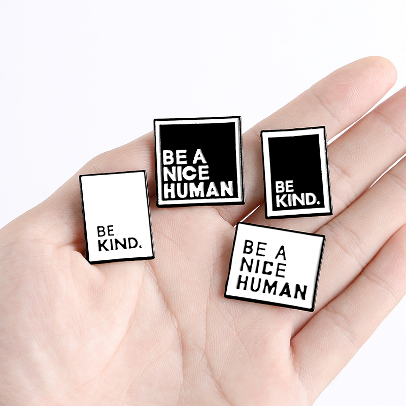 """/""""BE A NICE HUMAN/"""" Lapel Badge Pin Enamel Brooches Friendship Gifts Fashion"""