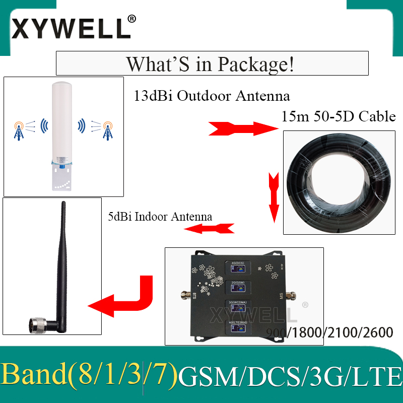 2020 New!! Four-Band 900 1800 2100 2600 2G 3G 4G Mobile signal Booster 4G Cellular Amplifier 4g Repeater GSM DCS WCDMA LTE 5