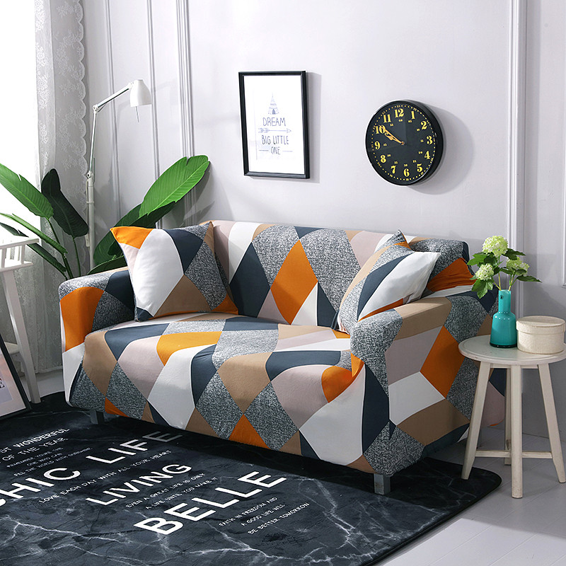 Stretchable Sofa Cover with Elastic for Sectional Couch Protects Sofa from Stains Damage and Dust 26
