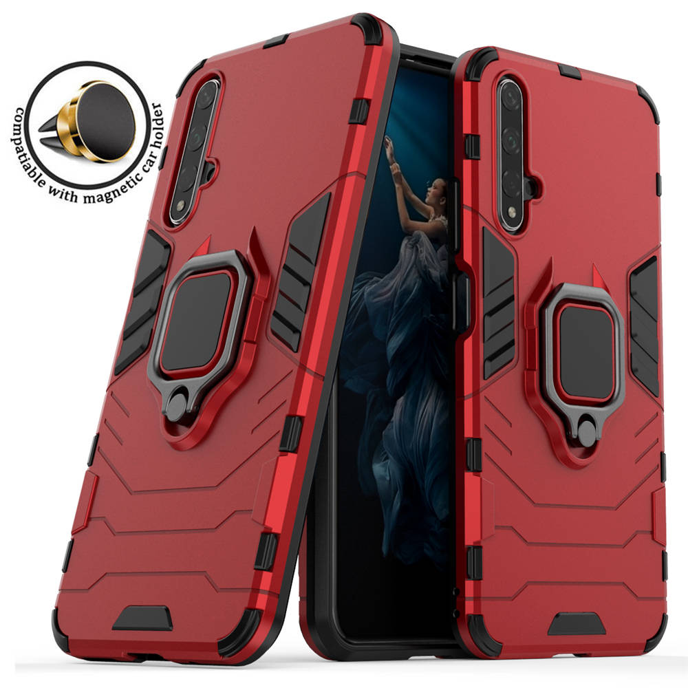 Case For Huawei Honor View 10 20 Lite Armor Ring Shockproof PC Back Cover for honor 9x 20 Pro 10i 20i Magnetic Car Holder Cases