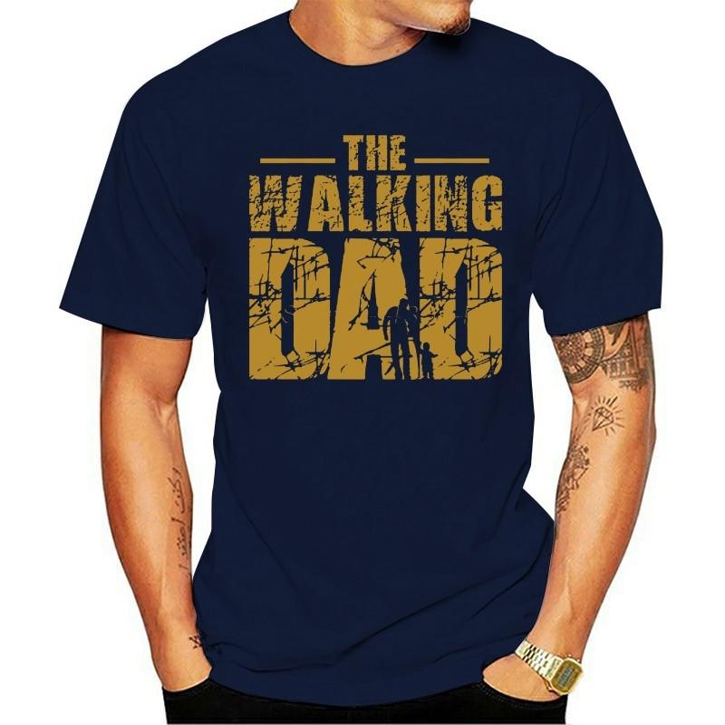2021 camiseta de lazer do dia do pai do pai o andar paipara os homens de manga curva de algodão mais sizepersonalizado