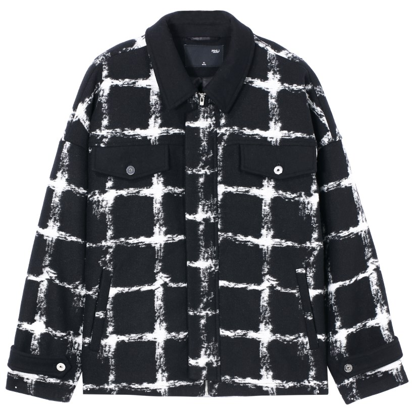 Palto completo Real hecho masculino breve párrafo 2019 otoño la nueva ropa de hombre abrigo de tela celosía ovejas de felpa solapas B193502351 - 5