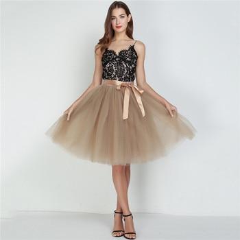 6Layers 65cm Fashion Tulle Skirt Pleated Tutu Skirts Womens Lolita Petticoat Bridesmaids Vintage Midi Skirt Jupe Saias faldas 4