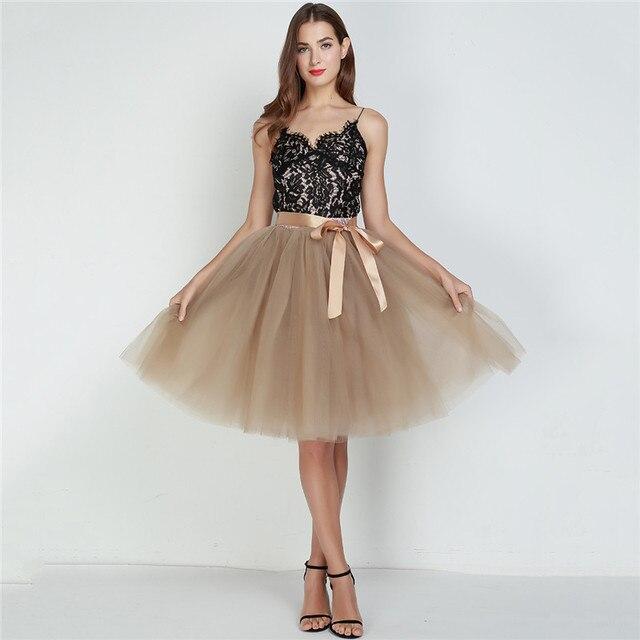 6Layers 65cm Fashion Tulle Skirt Pleated Tutu Skirts Womens Lolita Petticoat Bridesmaids Vintage Midi Skirt Jupe Saias faldas 6