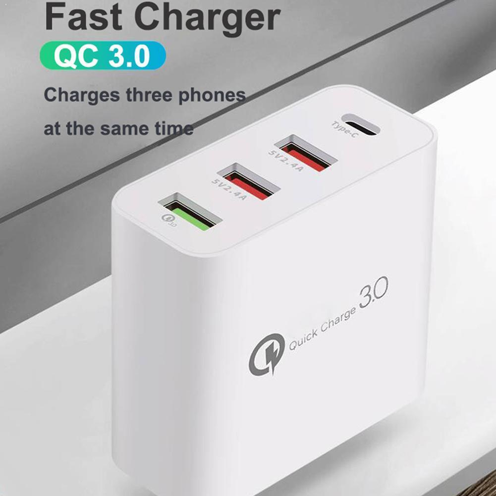48W Multi Quick Charger PD Type C USB Charger For Samsung EU UK 3.0 Huawei QC Wall Fast AU US IPhone Plug Adapter Tablet Ch M4W8