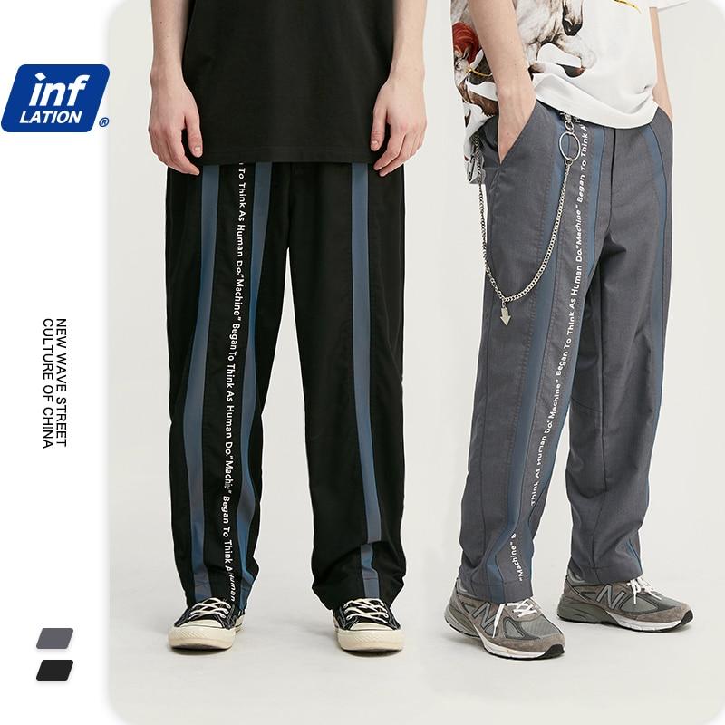INFLATION Hip Hop Men Polyester Straight Mens Pants Regular Fit Men Casual Pants Full Length Streetwear Men Pants 3072S20