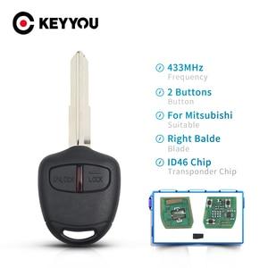 Keyyou 2 botão chave do carro remoto id46 chip 433mhz para mitsubishi l200 shogun pajero triton chave fob controle chave auto direito balde