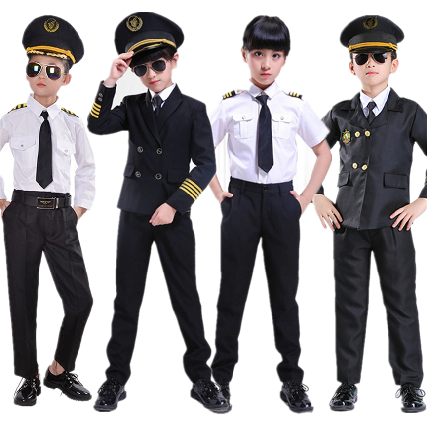 Boys Pilot Costumes For Kids Cosplay Halloween Flight Attendant Uniform Air Force Airplane House Play Party Performance Costume
