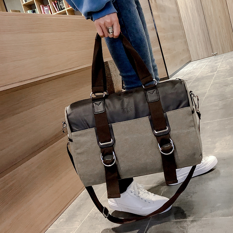 Canvas Retro Leisure Women Bag Pure Color Wear Resistant Large Capacity Storage Handbag Single Shoulder Slant Travel Bag JIULIN