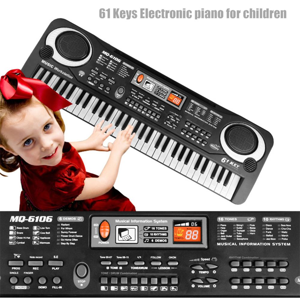 61 Keys Electronic Keyboard Piano LED Music Portable Toy With Microphone Educational Electone For Children