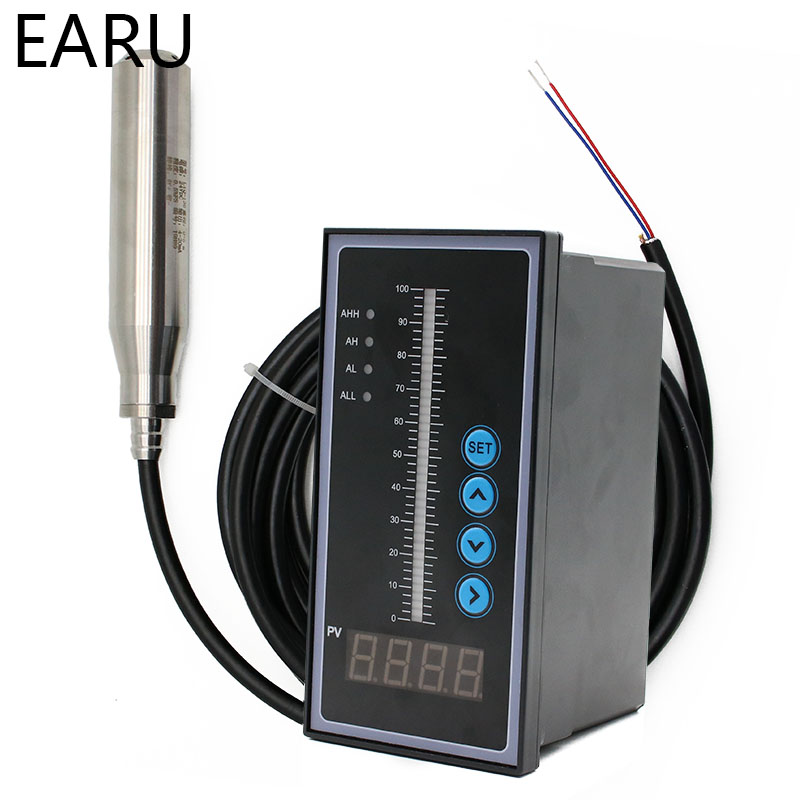 1set 4-20MA Output Integral Liquid Oil Water Level Sensor Probe Transmitter Detect With Smart Controller Float Switch Alarm Pump
