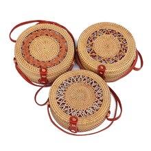 New Fashion Round Vintage ethnic style Straw Crossbody bag Shoulder Bags Women Summer Rattan Bag Handmade Woven handbag цены онлайн