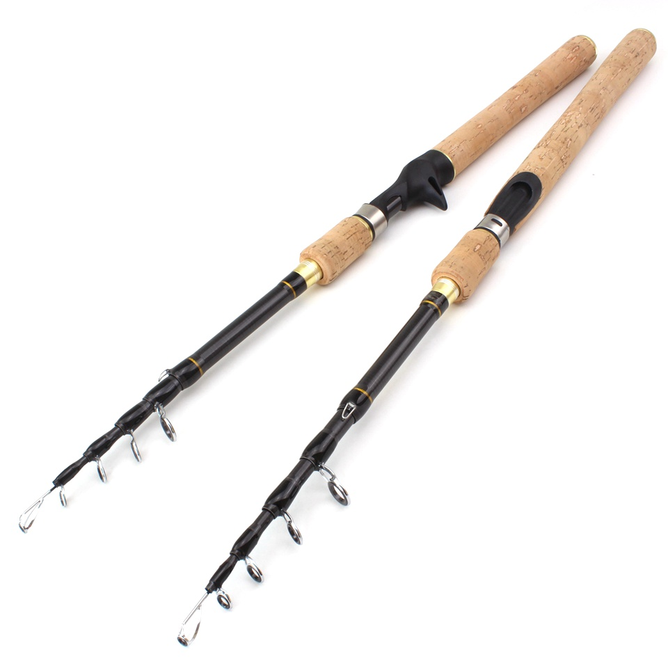 Promotion!  1.8m 2.1m 2.4m 2.7m Spinning Fishing Rod M Power Hard Telescopic Carbon Fiber Travel Pole Wooden Handle