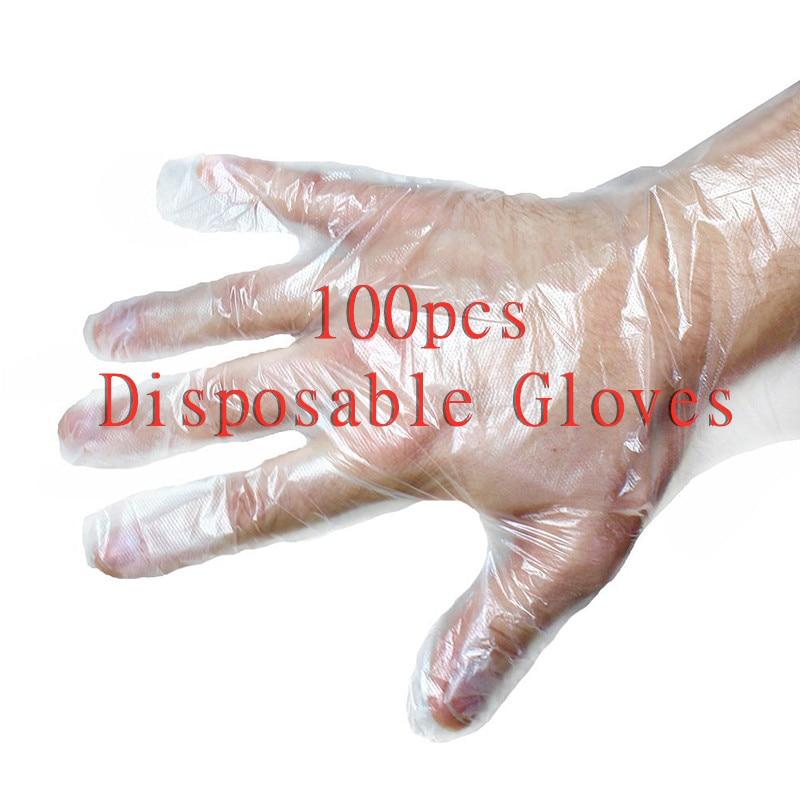 100pcs Transparent Disposable Gloves One-off Plastic Gloves Restaurant BBQ Eco-friendly PE Gloves Kitchen Garden Accessories