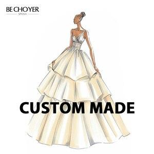 Image 1 - בציר אפליקציות ללא משענת חתונת שמלת BECHOYER EZ01 V צוואר שרוולים בת ים אשליה כלה מותאם אישית Vestido דה Noiva