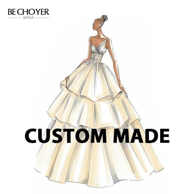 Vintage Appliques Backless Wedding Dress BECHOYER EZ01 V neck Sleeveless Mermaid Illusion Bridal Customized Vestido de Noiva
