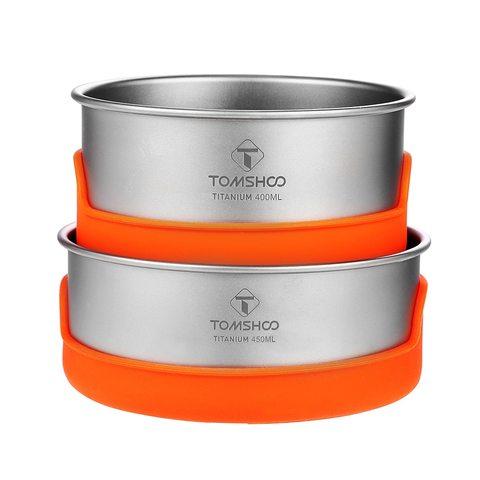 tomshoo tigela de titanio ao ar livre acampamento tigela pan pote de isolamento de silicone