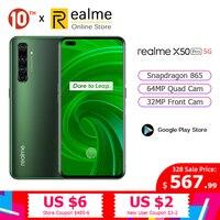 Original Realme X50 Pro 5G Snapdragon 865 Smartphone 8GB 128GB Mobile Phone 6.44'' 90Hz 64MP Android 10.0 65W SuperVOOC