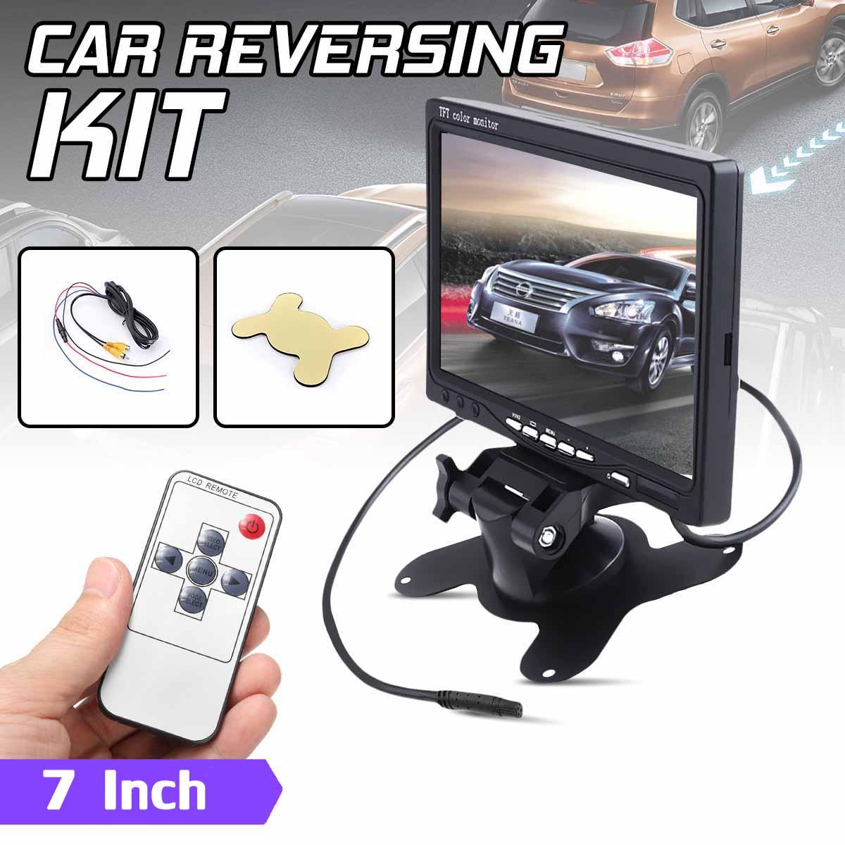 7 Cal 12V wyświetlacz TFT LCD ekran uniwersalny Monitor samochodowy ekran tylny pilot CCTV cofania kamera cofania