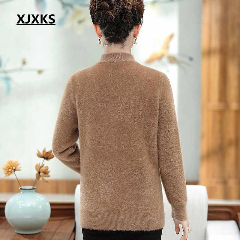 Xjxks 패션 줄무늬 겨울 두꺼운 따뜻한 여성 스웨터 2019 새로운 느슨한 플러스 크기 편안한 여성 밍크 캐시미어 스웨터 풀 오버