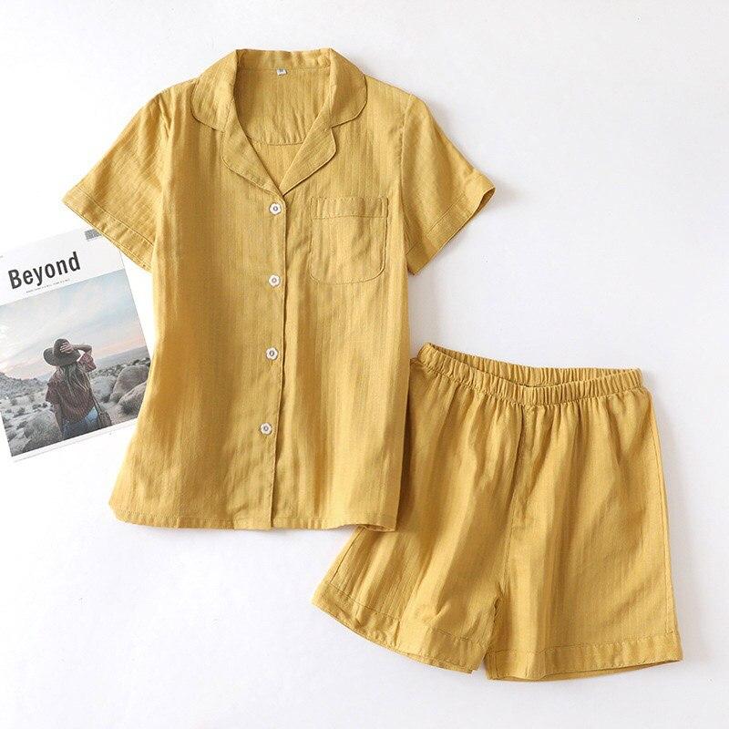 Image 4 - Lovers Solid Color Simple Style Pajamas Set Comfort Gauze Cotton Men And Women Sleepwear Short Sleeve+Pants Summer Thin HomewarPajama Sets   -