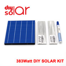 "383 Watt Kit DIY Solar Panel 156X156mm Polycrystall Solarzelle 300 W 6X6 ""300 W Tabbing Draht Buswire Flux Stift 350W Flexible(China)"