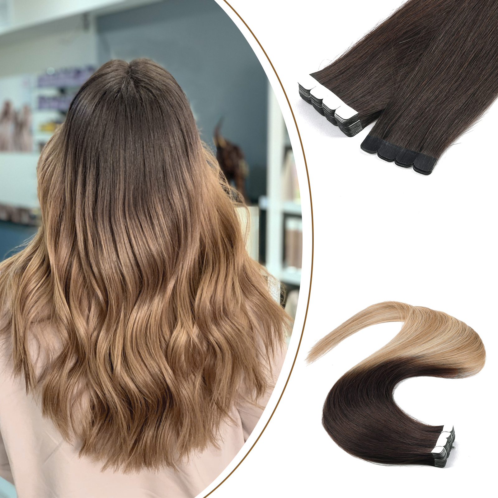 Bily Mini Tape In Human Hair Extensions Invisible Balayage Colored Machine Remy Skin Weft Natural Straight 10