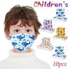 10pcs para Crianças Máscara de Impressão Máscara Descartável 3-dobras Da Orelha Máscara Loop Mascarillas Mondkapjes Mаски