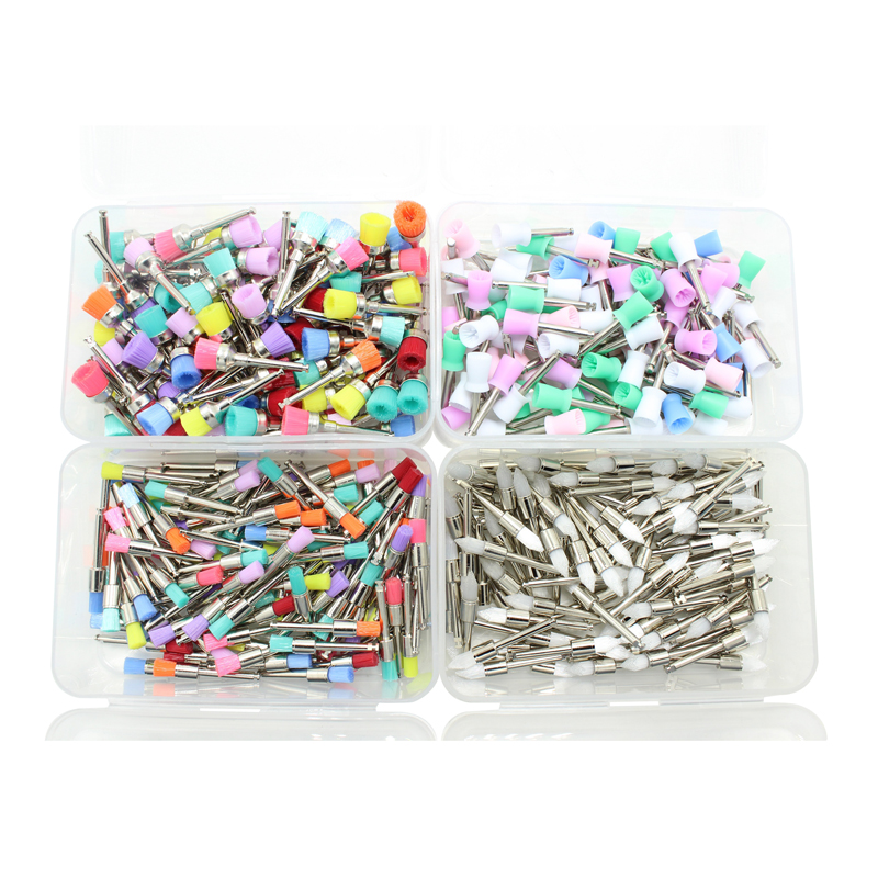 100pcs/bag Dental Polishing Brush Polisher Prophy Rubber Cup Latch Colorful Nylon Bristles Mix Style Dentist Tool Lab Instrument