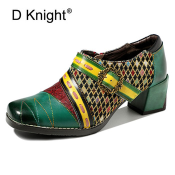 Bohemia Print Stitching Ethnic Buckle Genuine Leather High Heels Women's Shoes Vintage Spring Summer Handmade Ladies Shoes Pumps