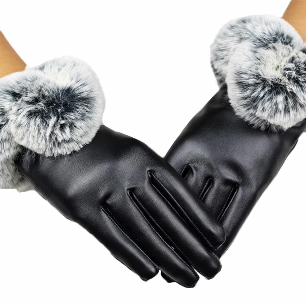 JAYCOSIN leather Gloves women Lady Black Leather Gloves Autumn Winter Warm Rabbit Fur Mittens PU guantes mujer