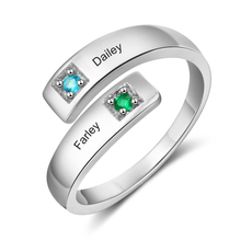 Personalized Ring Fashion Jewelry Adjustable Wedding Engraved 2 Names Inlay Birthstone Anniversary Gift for Women(RI103934)