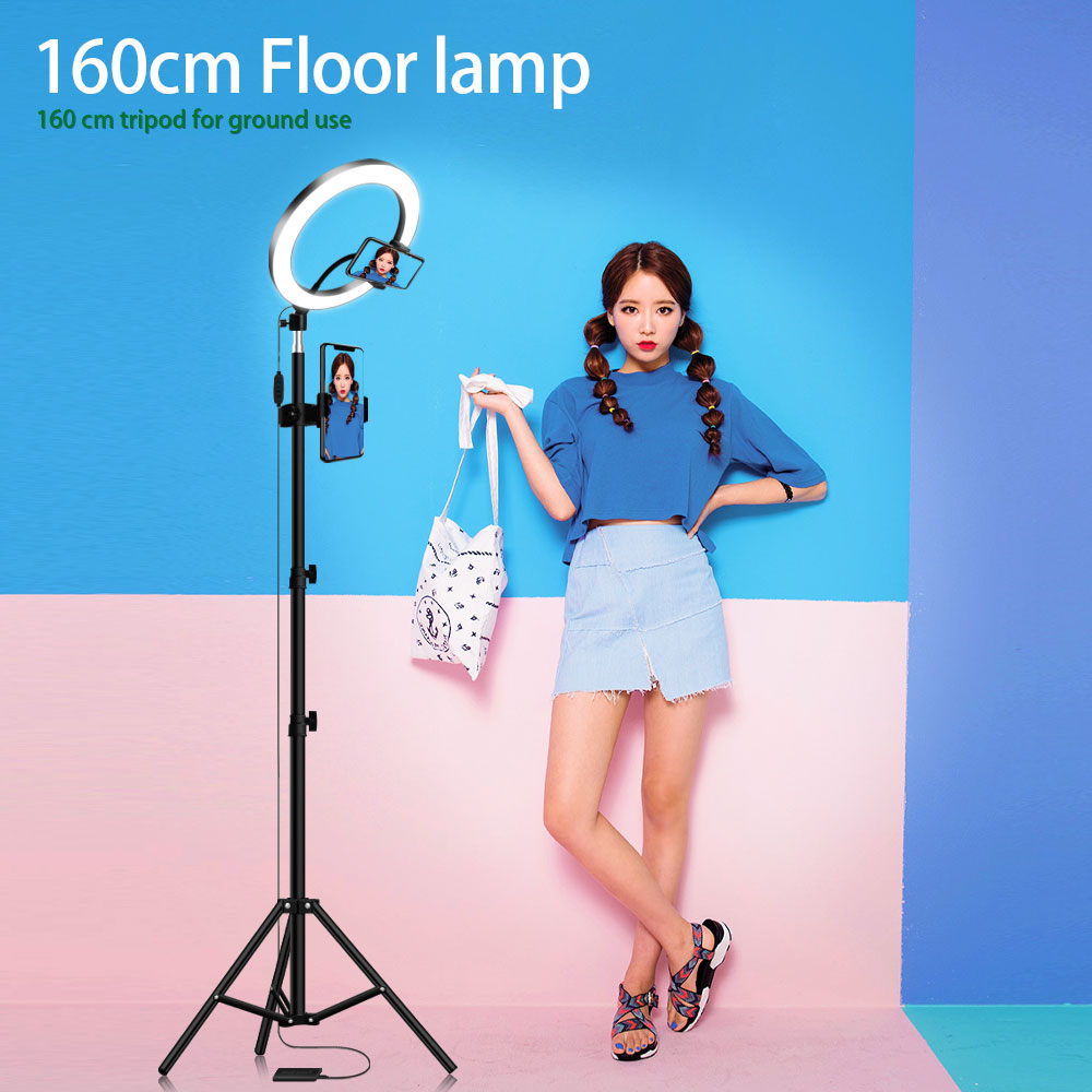 Mini LED Camera Light with Cell Phone Holder,16cm LED Ring Light 6 with Tripod Stand for YouTube Video and Makeup