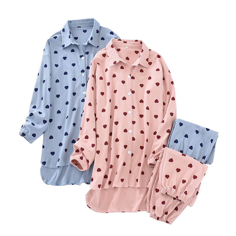 Women Spring And Autumn New Pyjamas Full Cotton Cardigan+Pants Sweet Heart Printed Ladies Turn-down Collar Sleepwear Homewear
