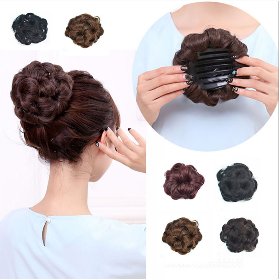 Synthetic Curly Chignon Bun Hairpiece For Women 9 Flowers Roller Clip In Fake Hair Accessories High-Temperature Fiber Headwear