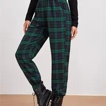 Calças casuais femininas xadrez, cintura elástica cor bloco tornozelo comprimento sweatpants esporte calças compridas