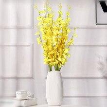 Европейский сельский стиль 9 букет/лот желтый и белый шелк Танцующая леди Орхидея пол цветок украшение дома
