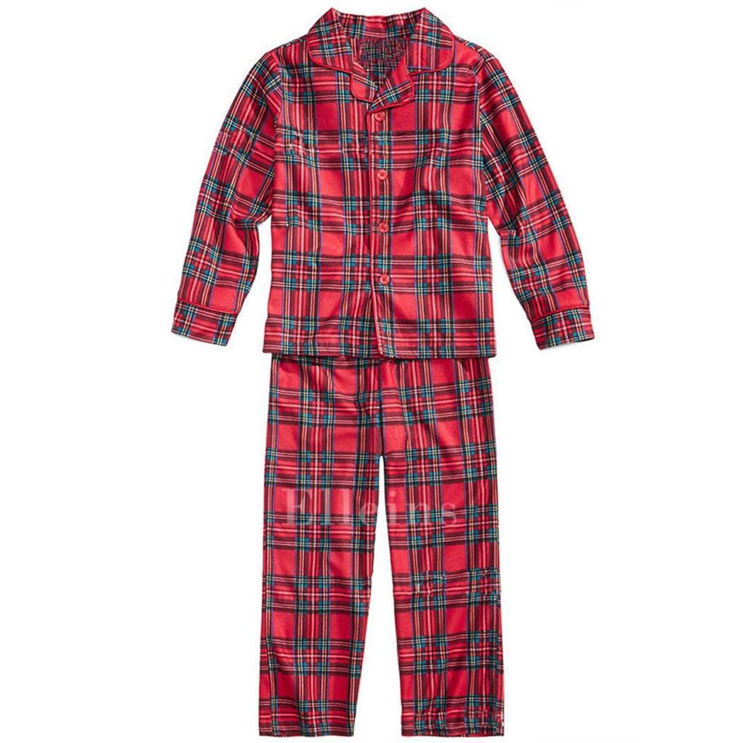 Plaid Pattern Pajamas Kids Mom Dad Family Pajama V-Neck Set Long Sleeve Sleepwear Red Nightwear