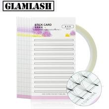 GLAMLASH Wimpern Verlängerung Lagerung Karte Vorgefertigten Fans Volume Lash Lagerung 2mm Klebrige Streifen Falsche Wimpern Papier Karte Make-Up-Tool