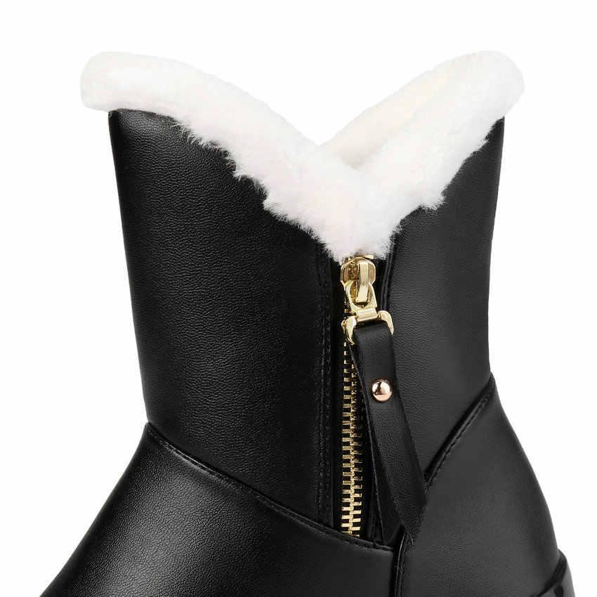 ESVEVA 2020 PU deri kama topuk fermuar yarım çizmeler kış sıcak kürk kar botları yuvarlak ayak platformu kadın ayakkabı büyük boy 34-43