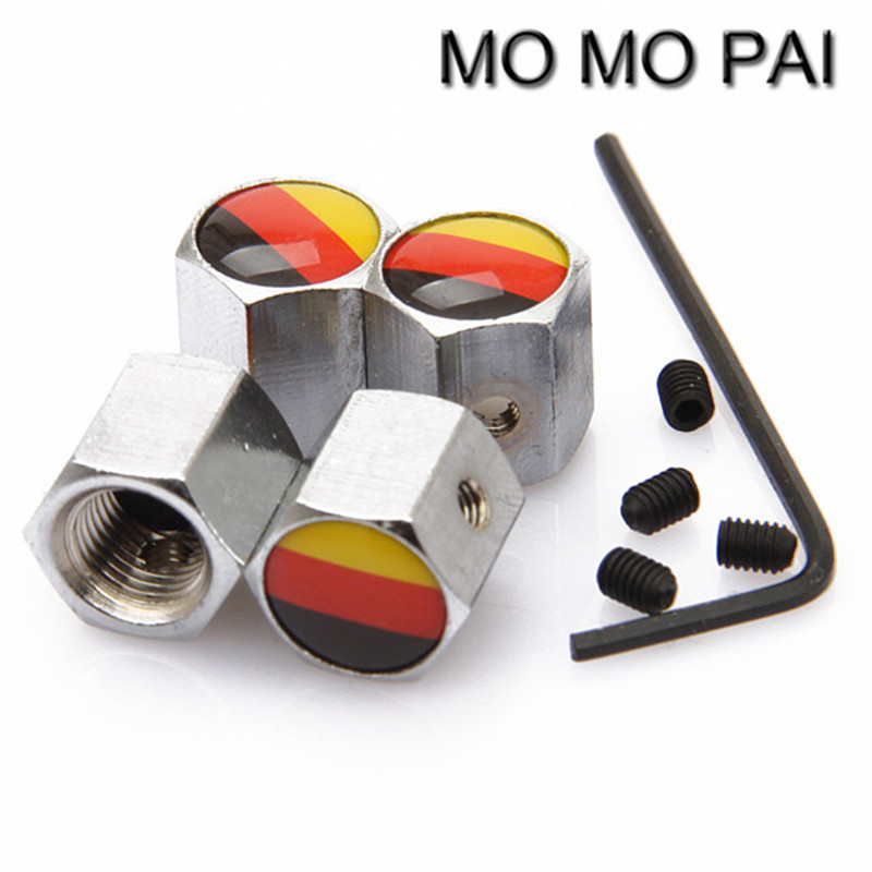 Theftproof Stainless Steel 4PCS Car Wheel Tire Valves Stem Air Caps German Flag Fit For Bmw Audi Ford Vw Toyota