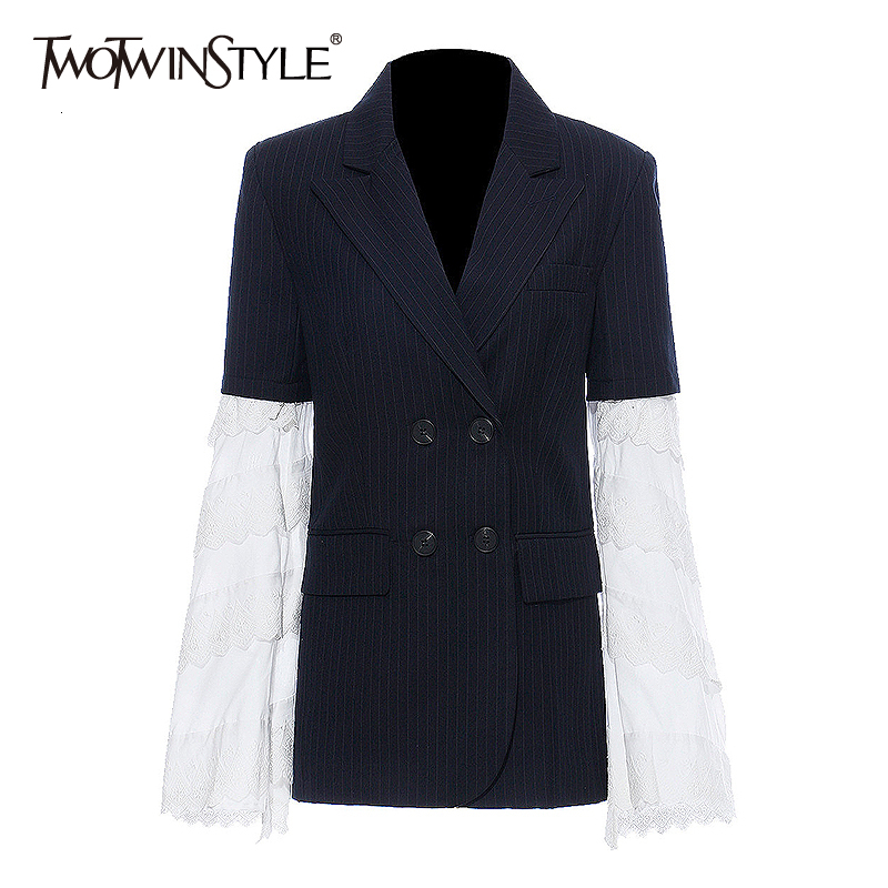 TWOTWINSTYLE  Patchwork Lace Women's Blazer Notched Flare Sleeve Double Breasted Hit Color Suit Female Fashion Autumn 2019 New