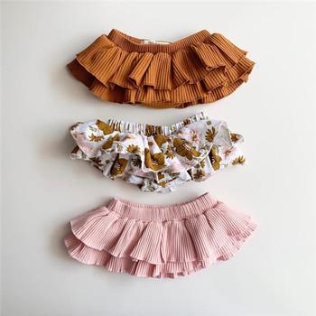 Słodkie niemowlę dziewczynek księżniczka spodenki spódnice noworodek kwiatowy falbany z nadrukiem szorty spódnice Tutu stałe spódnice warstwowe 0-24M tanie i dobre opinie Emmababy COTTON baby shorts Pasuje prawda na wymiar weź swój normalny rozmiar Wysokiej Unisex