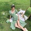 Französisch Retro Quadrat Kragen Floral Kleid Xia Xiu Schlanke Taille Split Mid-länge Kleid Blase Hülse Frucht Grün Kleid